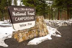 Wallowa Whitman National Forest Yellow Pine Campground Sign Oreg Stock Images