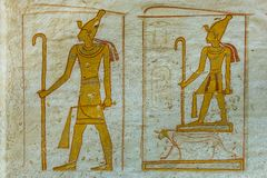 Wallpainting of the egyptian god Osiris. In the valley of the kings, KV 14 tomb of Seti II, Luxor, Egypt, October 21, 2018 royalty free stock image