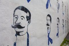 Wallpainting von Männern mit einem großen Schnurrbart Stockbilder