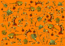Wallpaper. Made from cartoon warrior characters Stock Photography