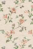 Wallpaper. Old textile wallpaper with floral design Royalty Free Stock Images