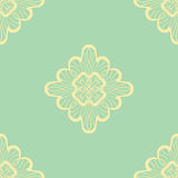 Wallpaper in abstract style green and yellow. A seamless vector background. Symmetrical ornament. Graphic vector pattern Stock Image
