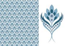 Wallpaper-azul sem emenda floral Fotos de Stock