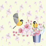 Wallpaper background spring flowers birds Royalty Free Stock Photo