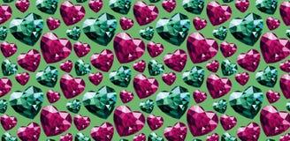 Vector illustration pattern gems stones heart shape colour royalty free illustration