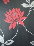 Wallpaper in the background. Red flowers on a black background, silver leaflets, wall stock photography