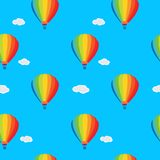 Wallpaper a balloon. Seamless wallpaper balloons and clouds in the sky Royalty Free Stock Image