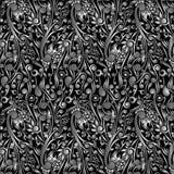 Wallpaper Batik Floral with Black Swirl Shape Stock Images