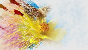 Butterfly and flower, greeting card wallpaper.