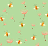 Wallpaper bee and dandelion Stock Photo
