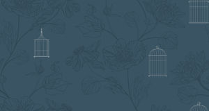 Wallpaper with birdcage and flowers Stock Photography
