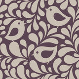 Wallpaper with birds and leaves Stock Photo