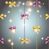 Wallpaper with bow and ribbon. Royalty Free Stock Images