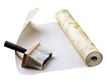 Wallpaper and brush sticking Royalty Free Stock Photo