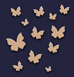 Wallpaper with butterflies made in carton paper Royalty Free Stock Images