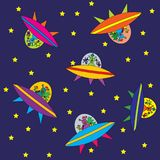 Wallpaper for children, aliens in space Royalty Free Stock Photos