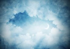 Wallpaper of cloud night skyscape. Panoramic view of dark cloudy skyscape at night with new month. Wallpaper or backdrop with copyspace Royalty Free Stock Photos