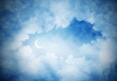 Wallpaper of cloud night skyscape. Panoramic view of dark cloudy skyscape at night with new month. Wallpaper or backdrop with copyspace Royalty Free Stock Photo