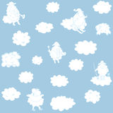 Wallpaper with clouds for a child's room Stock Photo
