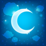 Wallpaper with clouds, stars and month Stock Photo