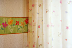 Wallpaper with curtain Stock Photo