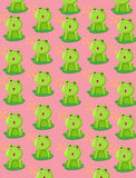 Wallpaper cute frog. Illustration of wallpaper cute frog on pink background Royalty Free Stock Photo