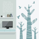 Wallpaper design for living area Stock Photos