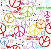 Wallpaper with doves and peace symbol Stock Photo