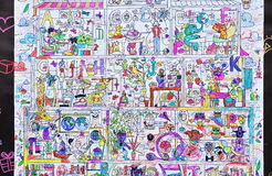 Wallpaper, drawing paper for children Stock Photos