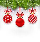 Wallpaper with Fir Twigs and Red Glassy Balls Stock Photography
