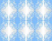 Wallpaper. Floral ornament on silver and blue Stock Image