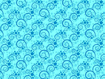 Wallpaper with flowers and spirals. Seamless pattern with flowers and curls. Vector illustration Stock Photo