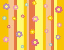 Wallpaper with flowers and strips. Stock Image