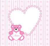 Wallpaper frame. The Beautiful frame in the manner of heart with bear by toy. The Vector illustration Royalty Free Stock Photo