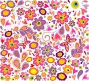 Wallpaper with funny flowers. Hippie wallpaper with funny flowers Stock Illustration