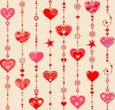 Wallpaper with funny hanging hearts Stock Photos