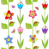 Wallpaper with funny spring flowers Royalty Free Stock Photo