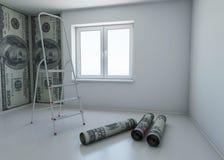 Wallpaper gekopierten Dollar als Symbol - das Geld Stockfoto