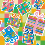 Wallpaper with gift boxes Stock Images