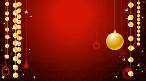 Wallpaper with gold christmas ball Stock Photos