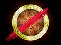 Wallpaper. Image of golden circle and red lines with a black textured background. Artwork wallpaper Stock Photo