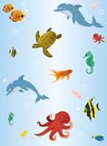 Wallpaper with the image of underwater animals. Vector image of sea animals on a blue background vector illustration