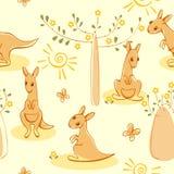 Wallpaper with kangaroos Stock Photos