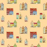 Wallpaper for kids of cartoon watercolor houses royalty free illustration