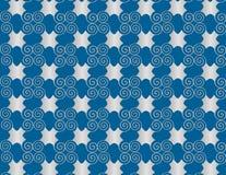 Wallpaper la spirale di arabesque della perla di griglia su fondo blu. Fotografia Stock