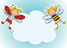 Wallpaper, ladybird and bee. Banner, ladybug and bee. Carnival mask. Place for text Royalty Free Stock Images