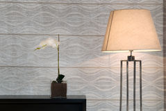 Wallpaper with lamp Stock Photography