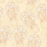 Wallpaper le modèle sans couture avec le narcisse dans le pot de fleurs fait par s Image stock
