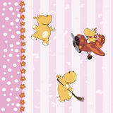 Wallpaper with little hippos Stock Image