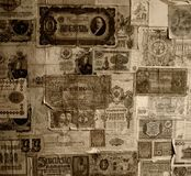 Wallpaper made from vintage banknotes Stock Images